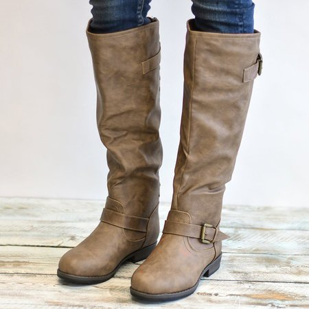 Womens Daily Zipper PU Riding Knee High Boots