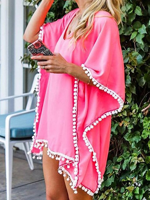 16 Kinds of Pure Color Fringed Resort Beach Cover Ups