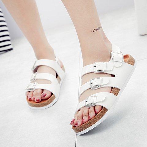 Womesns Casual Summer Pu Flat Heel Buckle Sandals