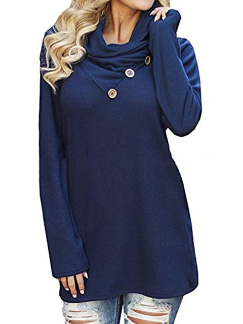 Spring/Fall Button Long Sleeve Casual T-Shirts