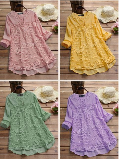 Women Lace Paneled Linen Blouses
