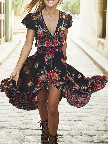 V neck Red Women Daily Short Sleeve Paneled Floral Floral Dress