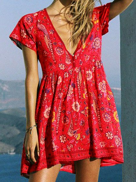 V neck Red Swing Women Daily Cotton Short Sleeve Boho Paneled Floral Floral Dress