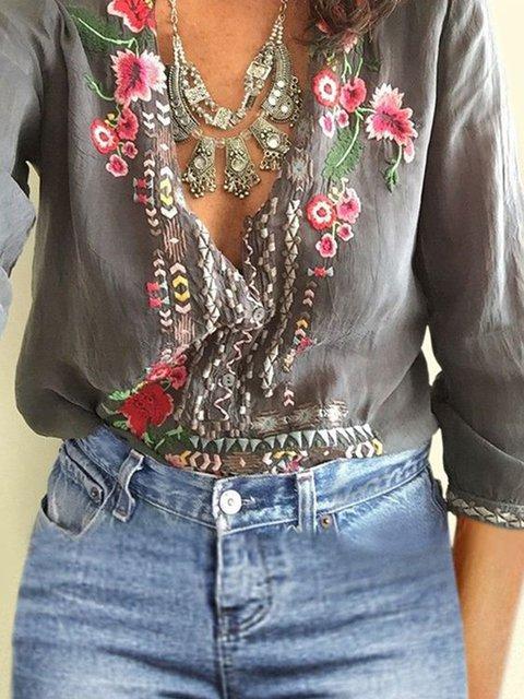 Gray V Neck Floral Long Sleeve Color-Block Blouses
