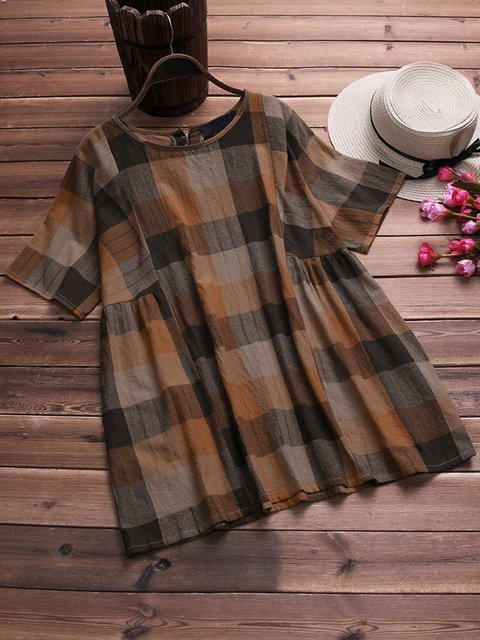 Casual Crew Neck Short Sleeve Checkered/plaid Tops & Tees