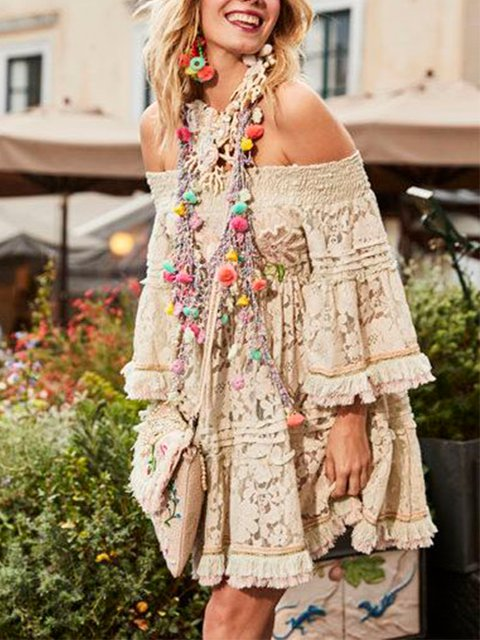 Off Shoulder Tassel Loose Elegant Dresses