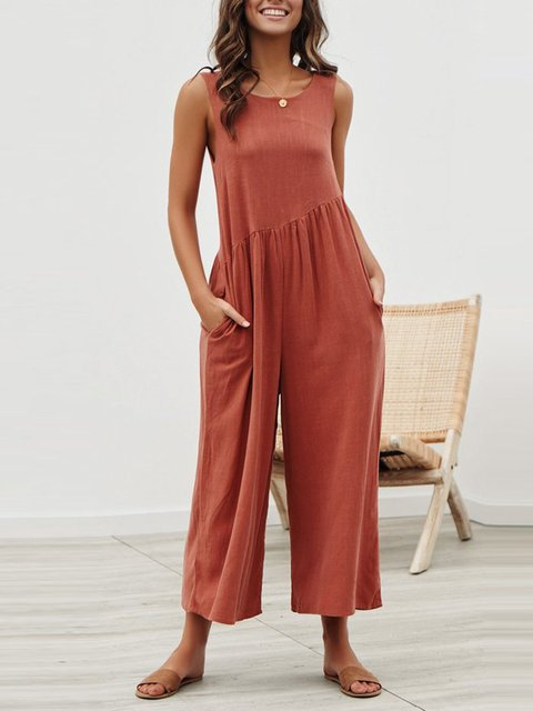 Sleeveless Backless Round Neck Lose Wide Leg Casual Jumpsuits