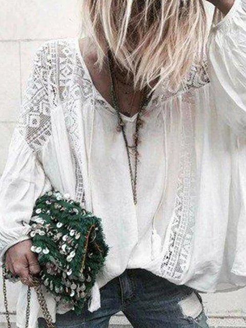 Holiday Long Sleeve Cotton Blouse