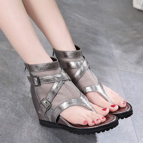 Women Cross Buckle Wedge Heel Gladiator Zipper Sandals