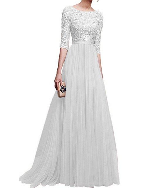 Crew Neck Women Prom Dresses Party Elegant Solid Dresses