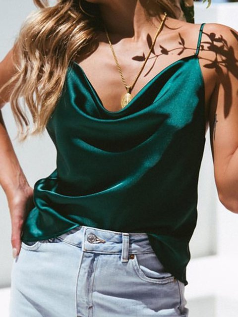 Summer Spaghetti Irregular Neck Camis