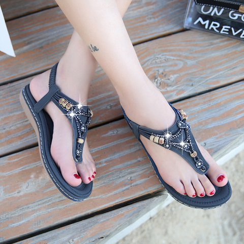 Beach Casual PU Elastic Band Boho Sandals