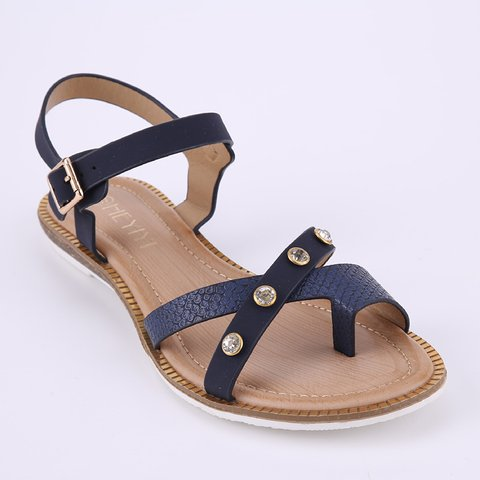 Fashion Rhinestones Comfortable Cross Straps Roman Sandals