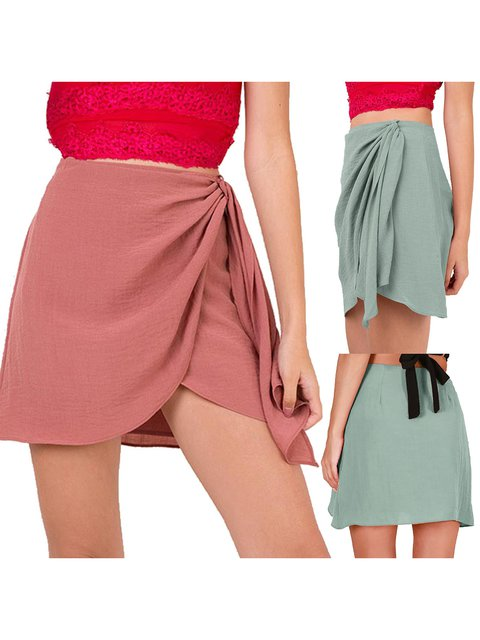 Cotton Solid Casual Skirts