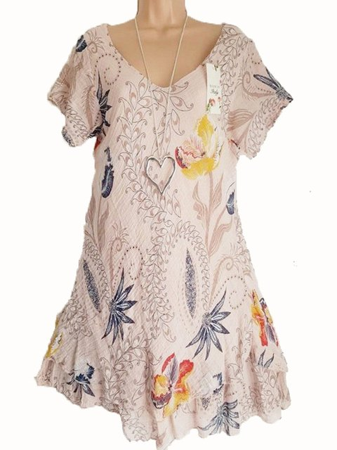 V Neck Women Casual Dresses Daily Casual Leaf Dresses