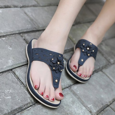 Women PU Slippers Comfort Flip Flop Flowers Shoes