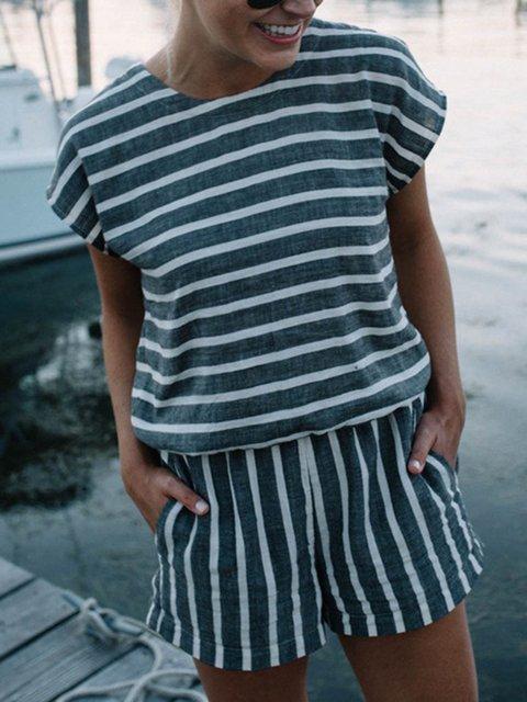 Stripe Printed Simple Paneled Short Rompers