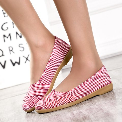 Women's Casual Shoes Grid Cotton Slip-On Flats