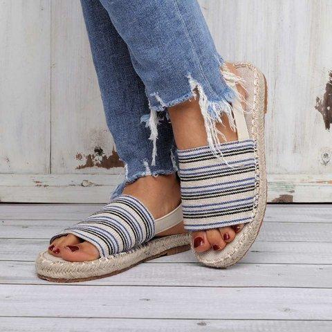 Stripes Espadrilles Beach Sandals Elastic Band Cloth Sandals