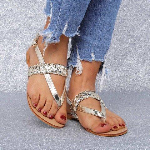 810d435ed676 Justfashionnow Sandals Flip-Flops Buckle Low Heel Casual Golden Sandals