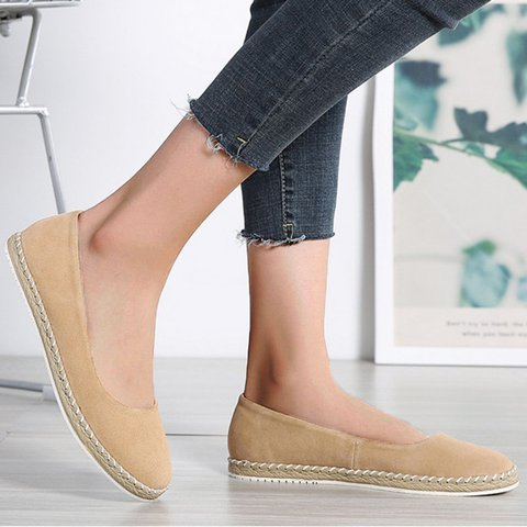 Women's Shoes Suede Slip-On Flats Plus Sizes