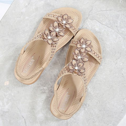 c688d2d03a9b Flower Beading Dress Sandals Women PU Slip-On Gore Shoes