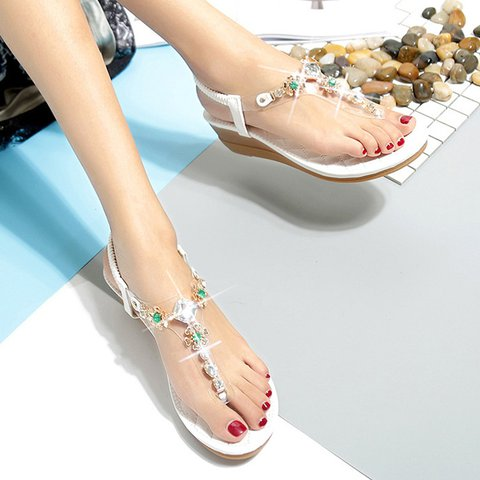 df7d8b1e1 Women Beach Rhinestone Thong Sandals Elastic Band Flip-flops