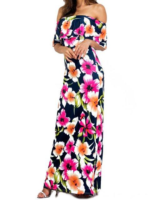 Off Shoulder Women Summer Dresses Sheath Beach Floral Dresses