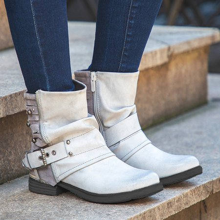Gray Microfiber Leather Adjustable Buckle Daily Chunky Heel Boots