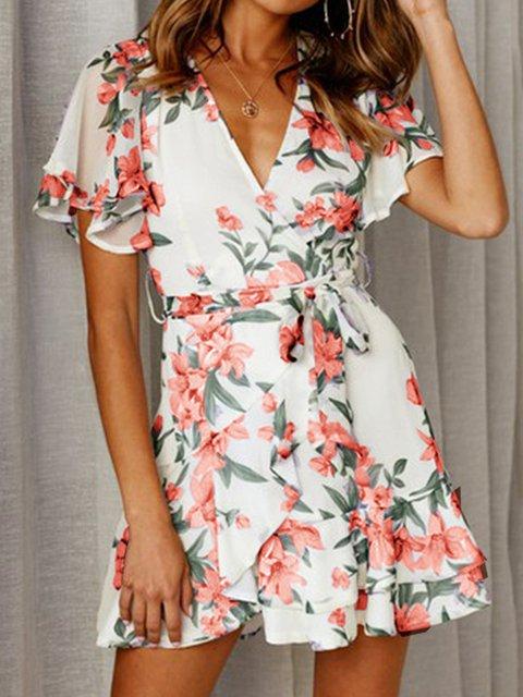 V Neck Women Summer Dresses Shift Going Out Chiffon Dresses