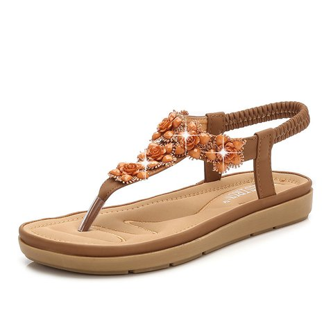 Flower Sequin Summer Flat Heel Sandals