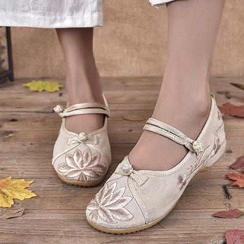 Women's Vintage Floral Embroidered Linen Sandals