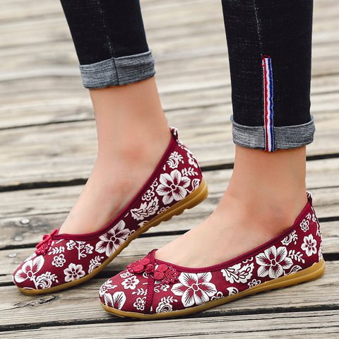 Women's Plus Size Floral Embroidered Linen Slip-on Flats