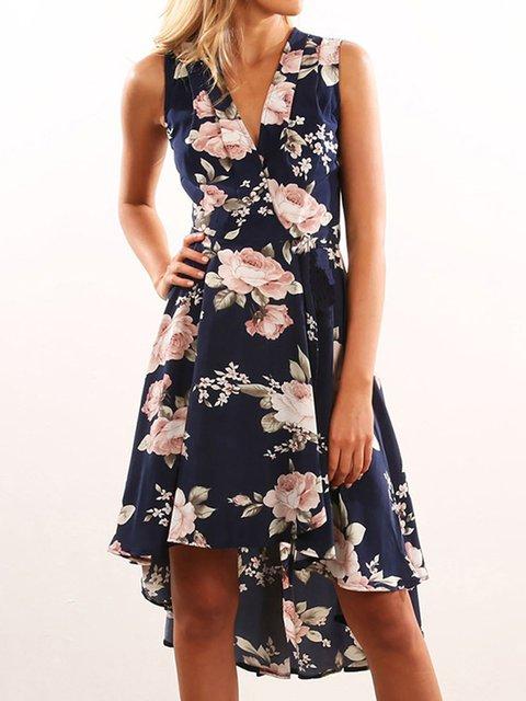 V Neck Blue Women Summer Dresses High Low Daily Floral Dresses
