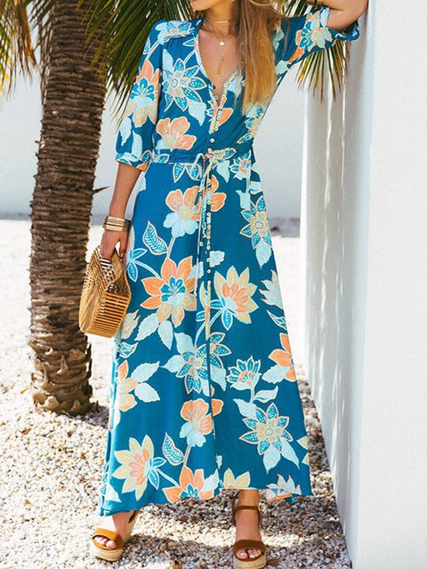 V Neck Blue Women Summer Dresses Shift Beach Cotton-Blend Dresses