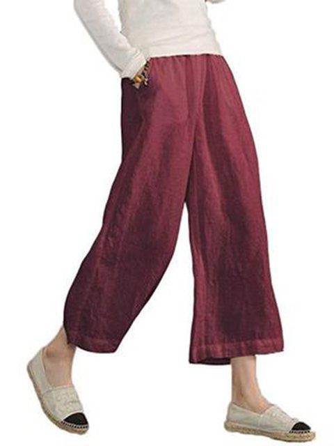 Women Solid Casual Linen Nights Pants