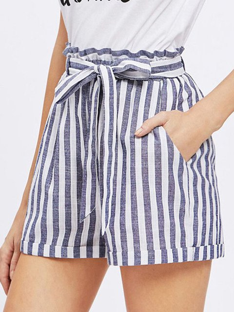 Striped Casual Linen Shorts