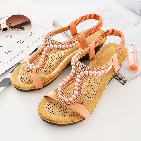 2019 Summer Wedge Rhinestone Decorative Peep Toe Sandals