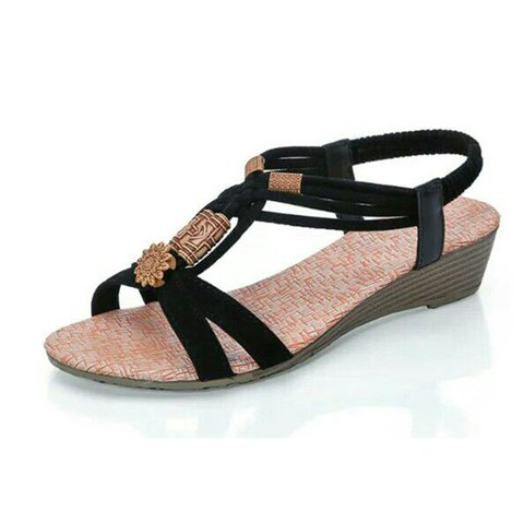 Flower Bead Knitting Beach Outdoor Wedge Sandals