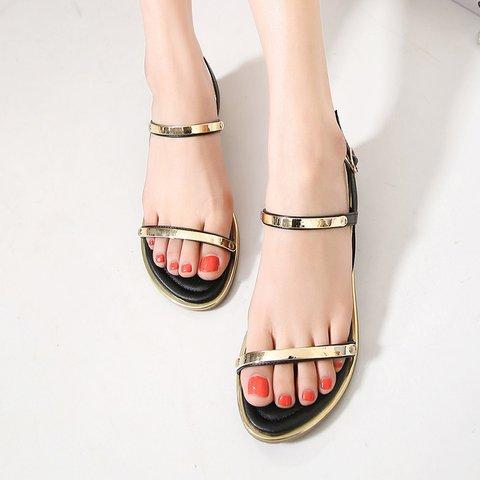 Women Summer Casual Flat Heel Buckle Sandals Peep Toe Shoes