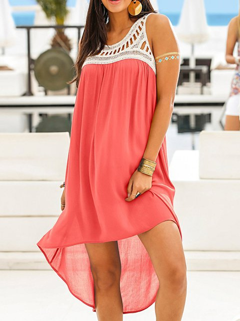 39e47d357f5 Justfashionnow Summer Dresses Shirt Dress Beach High Low Crew Neck Paneled  Holiday Sleeveless Dresses