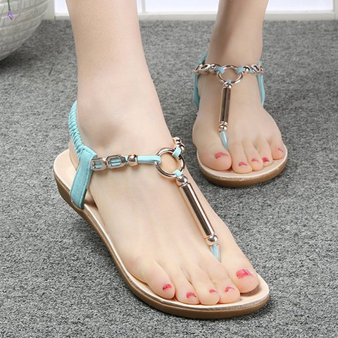 Flat Heel PU Casual Elastic Band Sandals