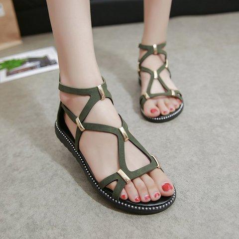 New Roman Women's Casual Back Zipper Sandals