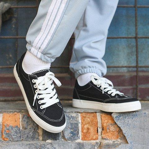 Fashion Choc Shoes Canvas Salto Baixo Lace-Up Sneakers