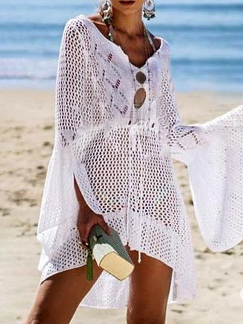 Cutout Woven Beach Solid Cover Ups