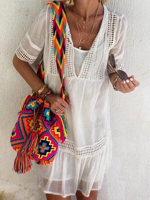 Half Sleeve V Neck Midi Dresses
