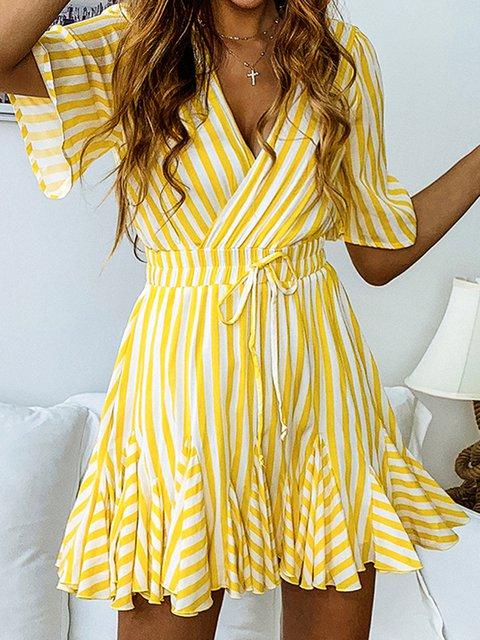 V Neck Women Summer Dresses A-Line Beach Holiday Cotton Dresses