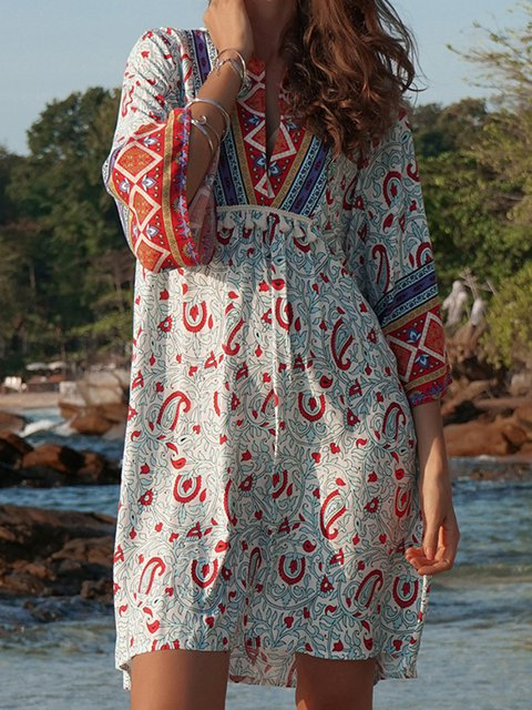 V Neck As Picture Women Summer Dresses Daily Floral-Print Floral Dresses