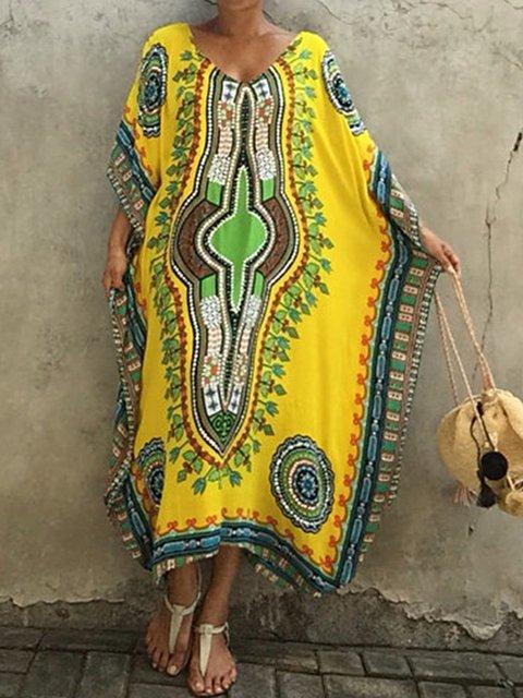 Women V Neck Printed Tribal Loose Maxi Dresses