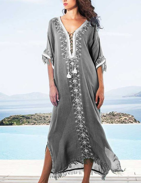 Bohemian Half Sleeve V Neck Casual Dress